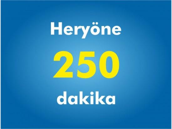 Yurtiçi Her Yöne 250 Dakika